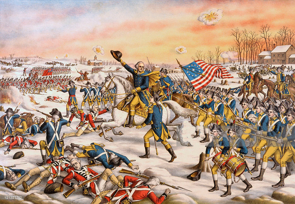 General Washington's charge at the Battle of Princeton on 3rd January 1777 in the American Revolutionary War: click here to buy this picture