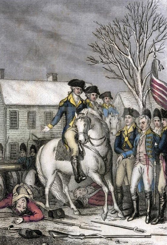 George Washington takes the surrender of Colonel Rahl: Battle of Trenton on 25th December 1776 in the American Revolutionary War: click here to buy this picture