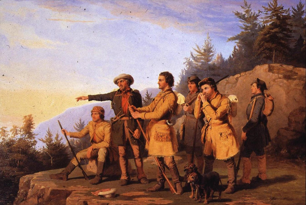 American Riflemen: Battle of Cowpens on 17th January 1781 in the American Revolutionary War: picture by William Ranney