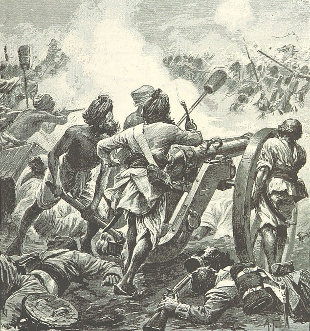 Mahratta gunners firing into the rear of the British/Madrassi line at the Battle of Assaye on 23rd September 1803 in the Second Mahratta War in India: picture by Alfred Pearse