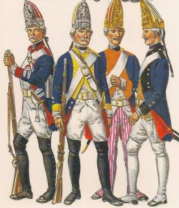 German Grenadiers: Battle of Bennington on 16th August 1777 in the American Revolutionary War