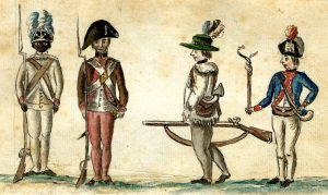 American soldiers sketched by a French officer at the Battle of Yorktown 28th September to 19th October 1781 in the American Revolutionary War