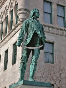Statue to Thomas Knowlton in Hartford Connecticut: Battle of Harlem Heights 16th September 1776 in the American Revolutionary War