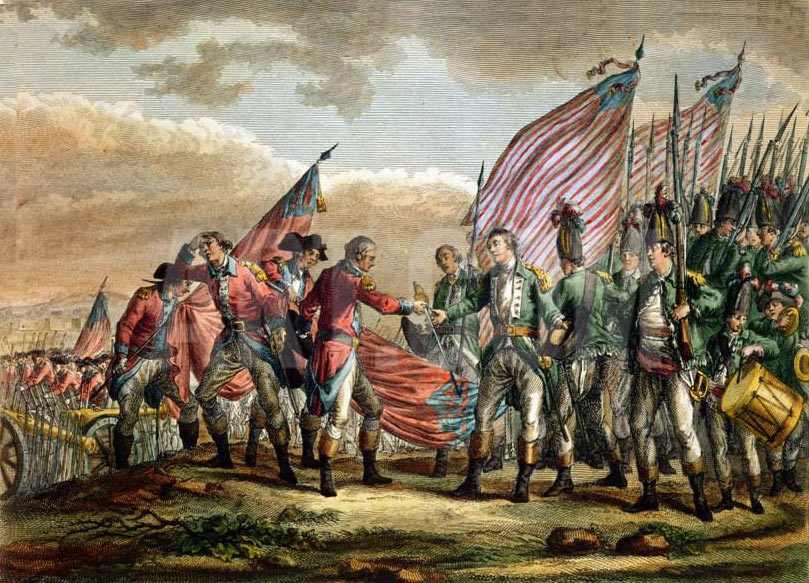 Surrender of the British at the Battle of Saratoga on 17th October 1777 in the American Revolutionary War: print by Fauvel: click here to buy this picture