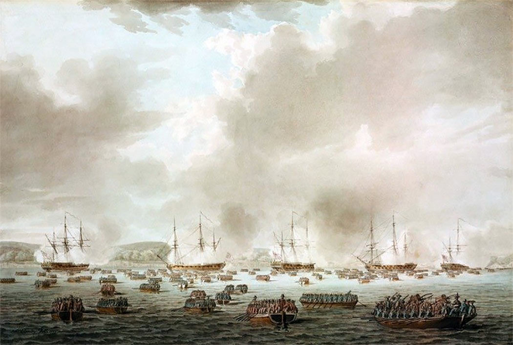 British landing at Kip's Bay on 15th September 1776: Battle of Harlem Heights 16th September 1776 in the American Revolutionary War: picture by Robert Clevely