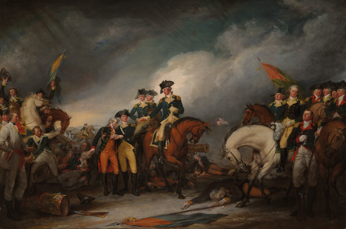 Surrender of Colonel Rahl to General George Washington at the Battle of Trenton on 25th December 1776 in the American Revolutionary War: picture by John Trumbull: click here to buy a picture of the surrender of Colonel Rahl