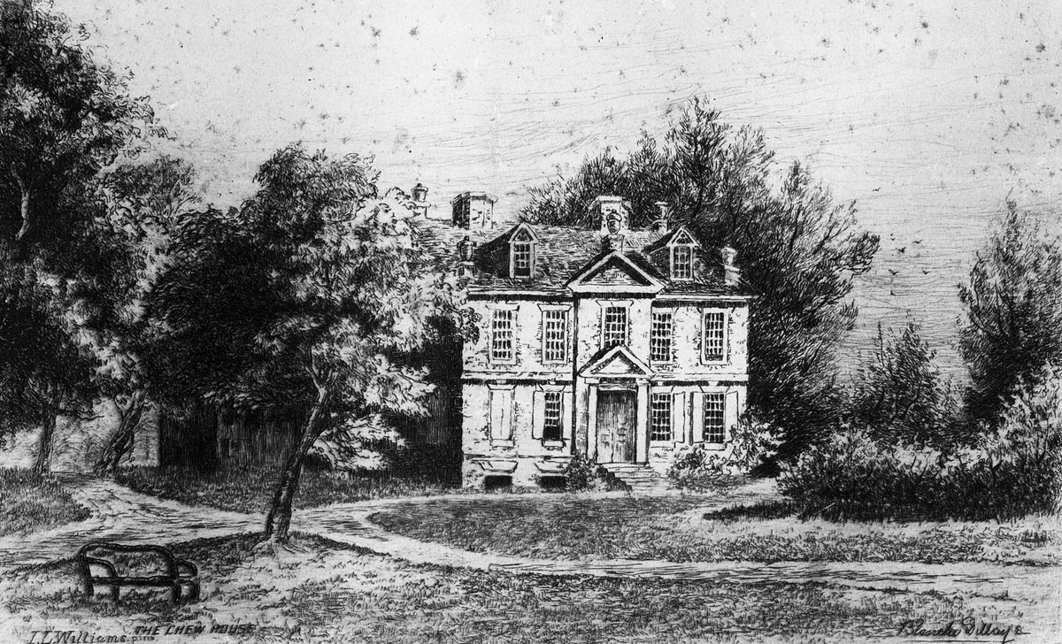 Chief Justice Chew's Cliveden House: Battle of Germantown on 4th October 1777 in the American Revolutionary War