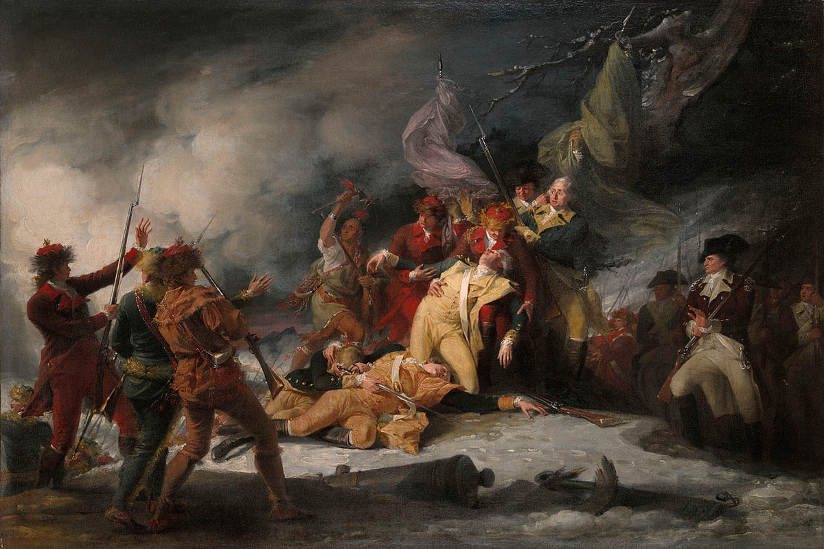 Death of General Richard Montgomery in the attack on Quebec on 31st December 1775 in the American Revolutionary War: picture by John Trumbull: click here to buy this picture