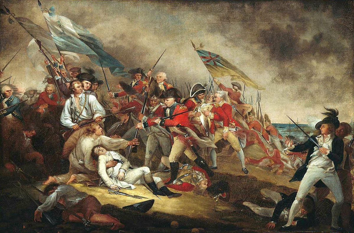 Death of General Warren at the Battle of Bunker Hill on 17th June 1775 in the American Revolutionary War: picture by John Trumbull: click here to buy this picture