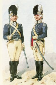 Trooper and Officer of British Light Dragoons: Battle of Vimeiro on 21st August 1808 in the Peninsular War: picture by Richard Simkin