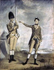 Grenadier and Officer of the British 62nd Regiment: Battle of Freeman's Farm on 19th September 1777 in the American Revolutionary War