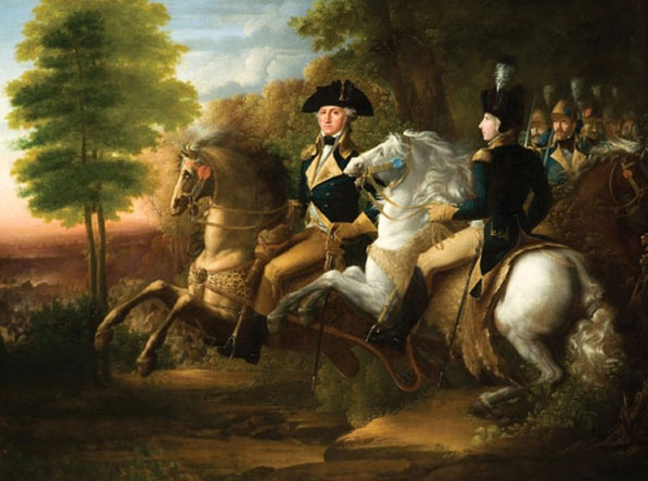 General George Washington and the Marquis de Lafayette at the Battle of Brandywine Creek on 11th September 1777 in the American Revolutionary War: picture by John Vanderlyn
