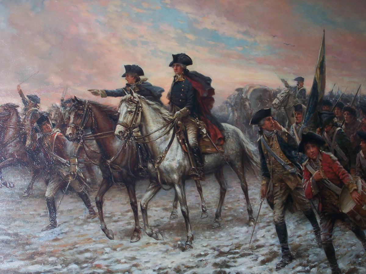 George Washington leading his troops to the attack at the Battle of Trenton on 25th December 1776 in the American Revolutionary War: picture by Frederick Coffay Yohn