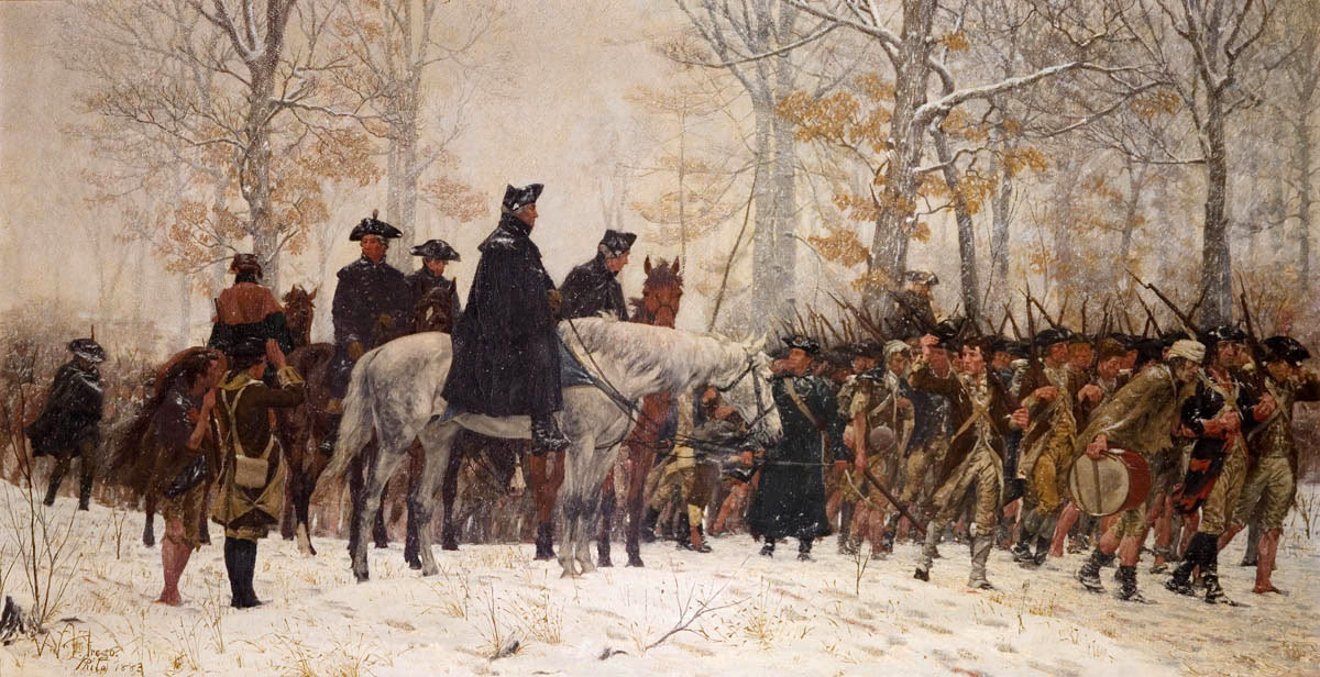 George Washington and the American Continental Army at Valley Forge Winter 1777/8: Battle of Monmouth on 28th June 1778 in the American Revolutionary War: picture by William T Trego: click here to buy this picture in black and white