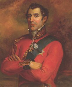 General Arthur Wellesley, later the Duke of Wellington, leading the British attack at the Battle of Assaye on 23rd September 1803 during the Second Mahratta War in India: picture by Robert Home: buy a picture of the Duke of Wellington