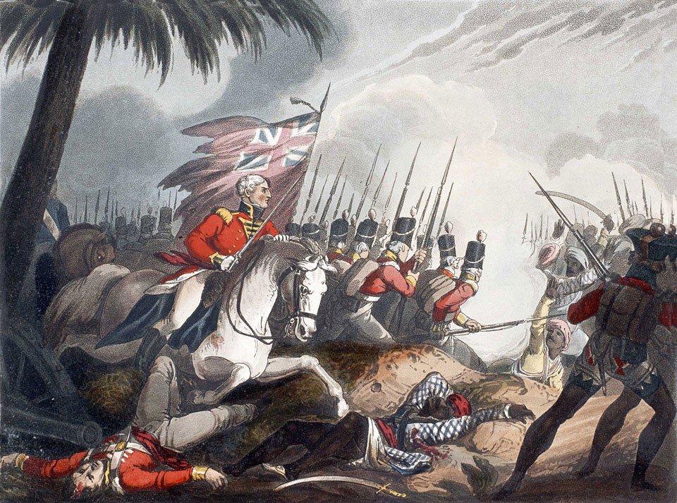 General Arthur Wellesley, later the Duke of Wellington, leading the British attack at the Battle of Assaye on 23rd September 1803 in the Second Mahratta War in India: picture by William Heath