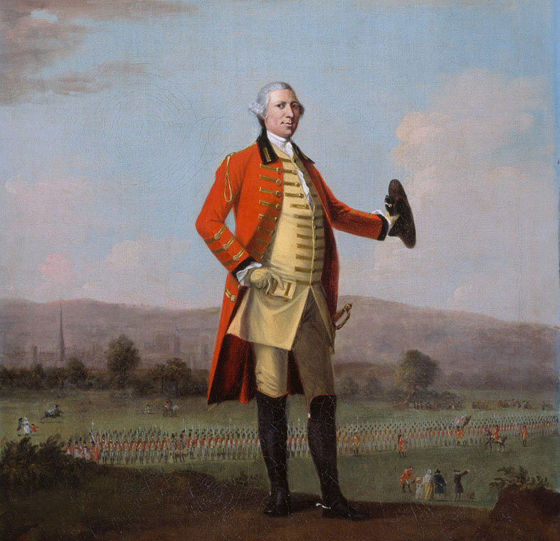 British colonel standing in front of his regiment: Battle of Freeman's Farm on 19th September 1777 in the American Revolutionary War