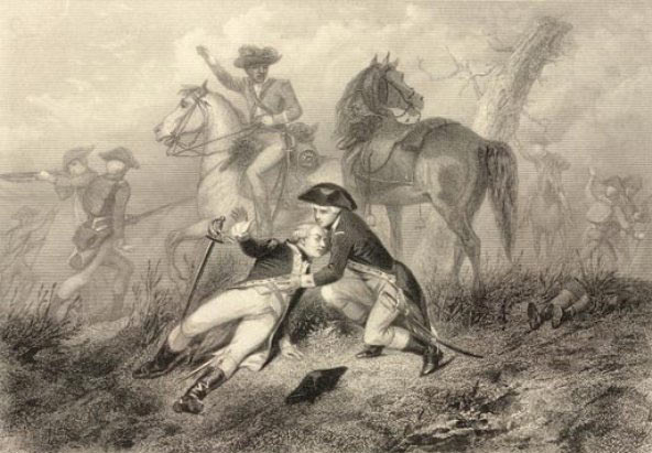 Wounding of the Marquis de Lafayette at the Battle of Brandywine Creek on 11th September 1777 in the American Revolutionary War: picture by Charles Henry Jeans