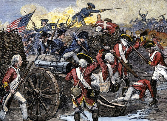 American Continental troops capture British guns at the Battle of Yorktown 28th September to 19th October 1781 in the American Revolutionary War