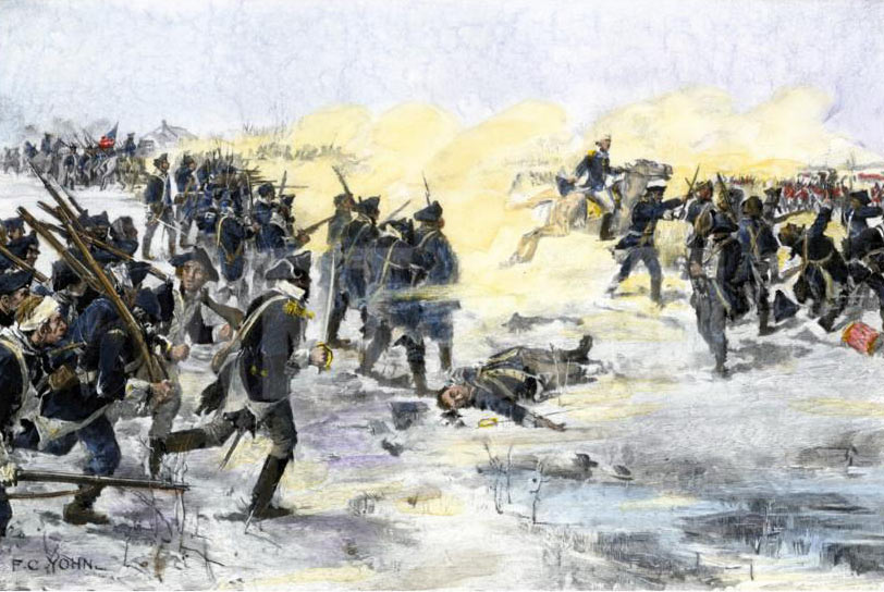 American troops attacking at the Battle of Princeton on 3rd January 1777 in the American Revolutionary War: click here to buy this picture