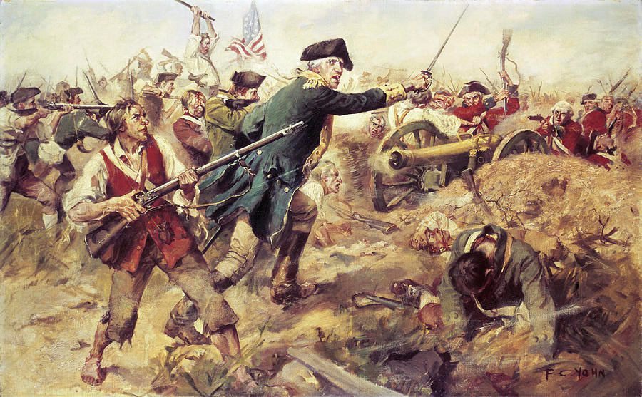 Brigadier-General John Stark at the Battle of Bennington on 16th August 1777 in the American Revolutionary War: picture by Frederick Coffay Yohn: click here to buy this picture