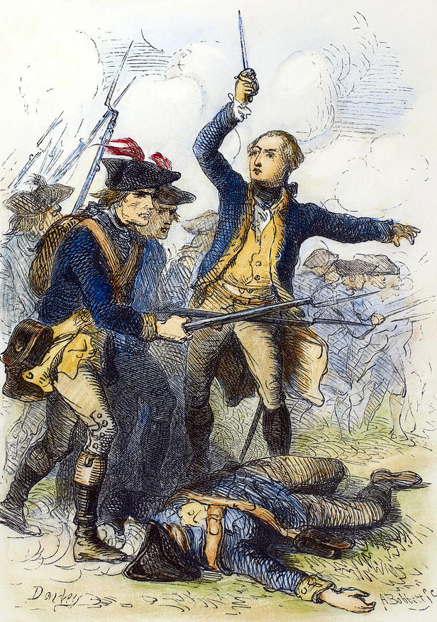 General Washington rallying American troops at the Battle of Brandywine Creek on 11th September 1777 in the American Revolutionary War