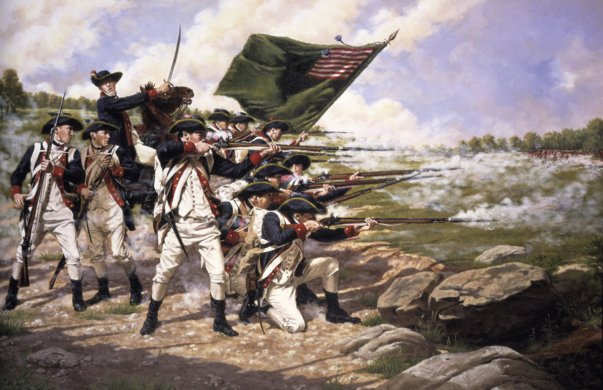 American Continental troops, Delaware Regiment, at the Battle of Long Island on 27th August 1776 in the American Revolutionary War: picture by Domenick D'Andrea: click here to buy this picture