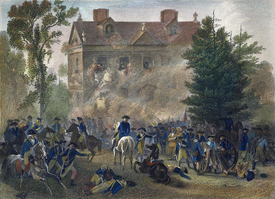 General George Washington conducting the American Attack on the Chew House in the Battle of Germantown on 4th October 1777 in the American Revolutionary War: picture by Alonzo Chapell: click here to buy this picture