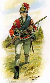 British Light Infantryman wearing the dyed red feathers: Battle of Paoli on 20th/21st September 1777 in the American Revolutionary War