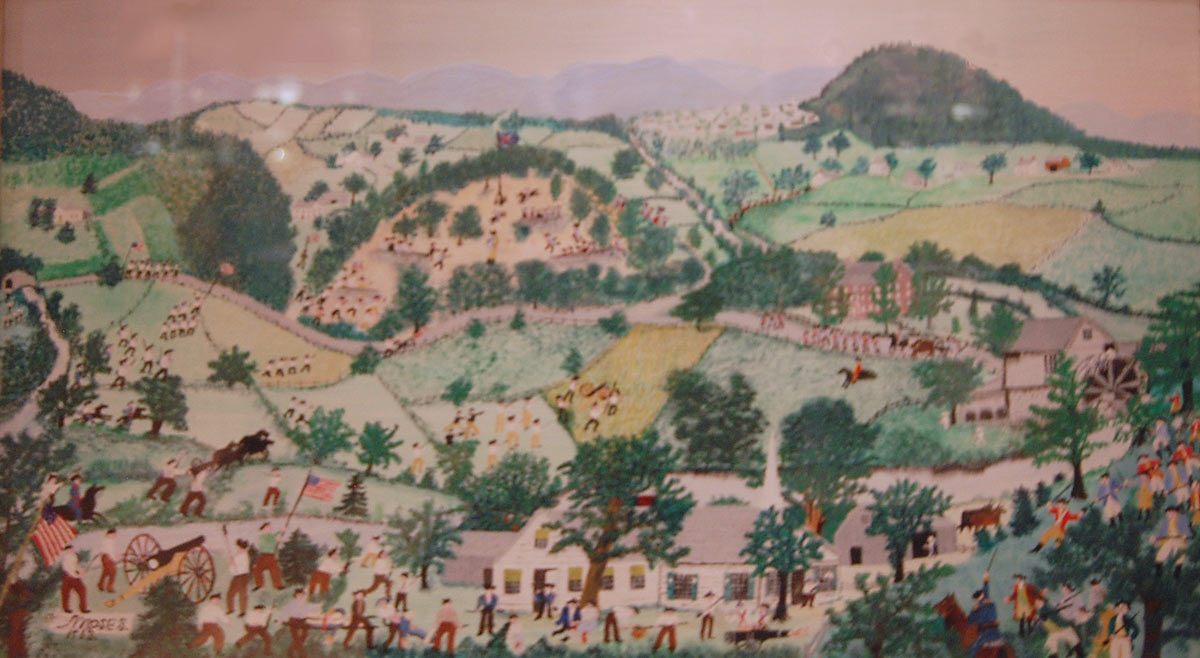 Grandma Moses' contemporary picture of the Battle of Bennington on 16th August 1777 in the American Revolutionary War