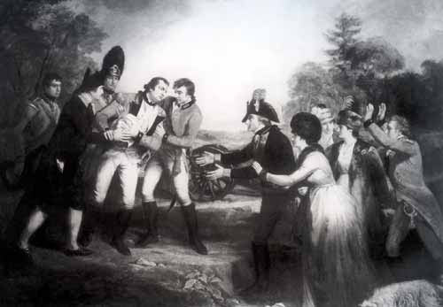 Mortal wounding of Brigadier Simon Fraser of Balnairn at the Battle of Saratoga on 17th October 1777 in the American Revolutionary War