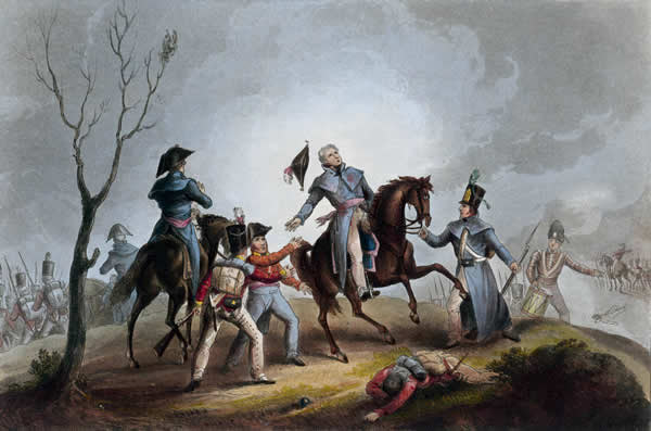 Death of Sir John Moore at the Battle of Corunna on 16th January 1809 in the Peninsular War: picture by William Heath