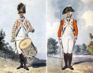 British Foot Guards drummer and soldier: Battle of Guilford Courthouse on 15th March 1781 in the American Revolutionary War
