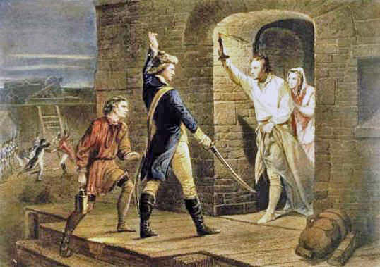 Ethan Allen and Benedict Arnold and the 'Green Mountain Boys' surprising the British garrison of Fort Ticonderoga in 1775: click here to buy this picture