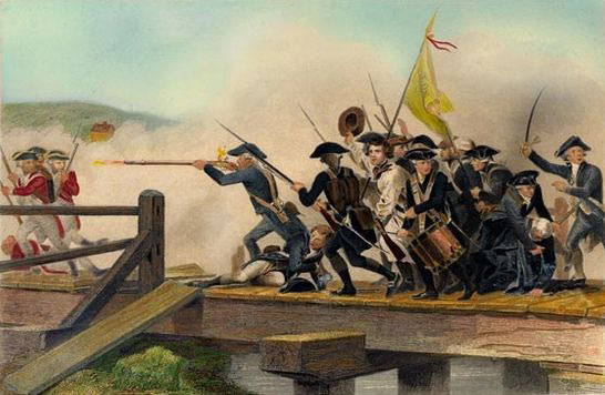 Fight for Concord Bridge: Battle of Concord and Lexington 19th April 1775 American Revolutionary War: picture by by Alonzo Chapell