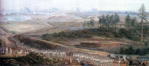 French troops advancing to attack the British lines at the Battle of Yorktown 19th October 1781 in the American Revolutionary War