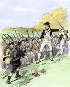 Brigadier John Stark leads the New Hampshire Militia at the Battle of Bennington on 16th August 1777 in the American Revolutionary War: click here to buy this picture