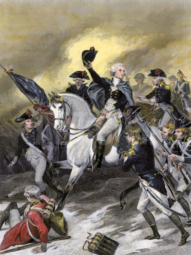 George Washington leading the American attack at the Battle of Princeton on 3rd January 1777 in the American Revolutionary War: picture by Alonzo Chapell: click here to buy this picture