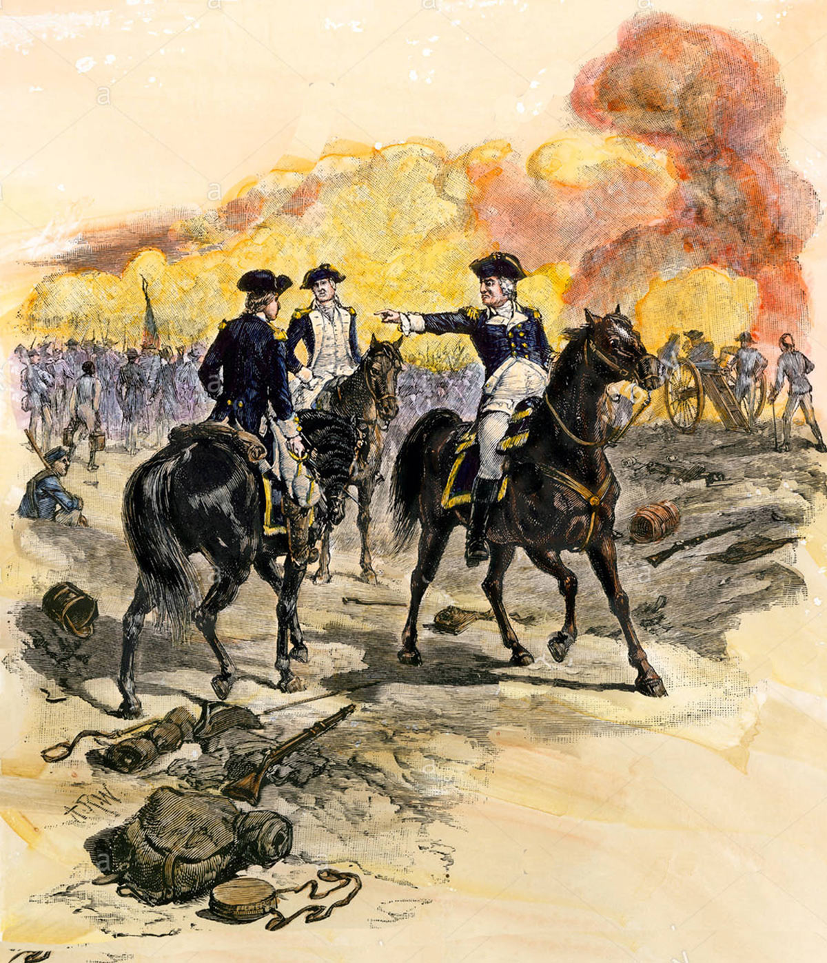 Washington confronting Lee: Battle of Monmouth on 28th June 1778 in the American Revolutionary War