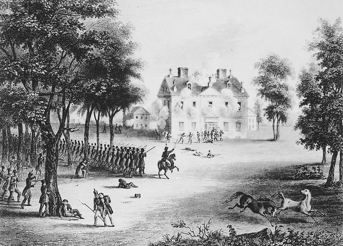 The American attack on the Chew House at the Battle of Germantown on 4th October 1777 in the American Revolutionary War (the uniforms portrayed are late 18th Century)