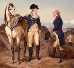 General George Washington with Captain Alexander Hamilton at their first meeting: Battle of Trenton on 25th December 1776 in the American Revolutionary War: picture by Alonzo Chapell: click here to buy this picture