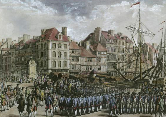 Hessian troops arriving in America; Battle of Trenton on 25th December 1776 in the American Revolutionary War