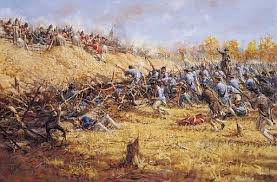 American attack: Battle of Freeman's Farm on 19th September 1777 in the American Revolutionary War