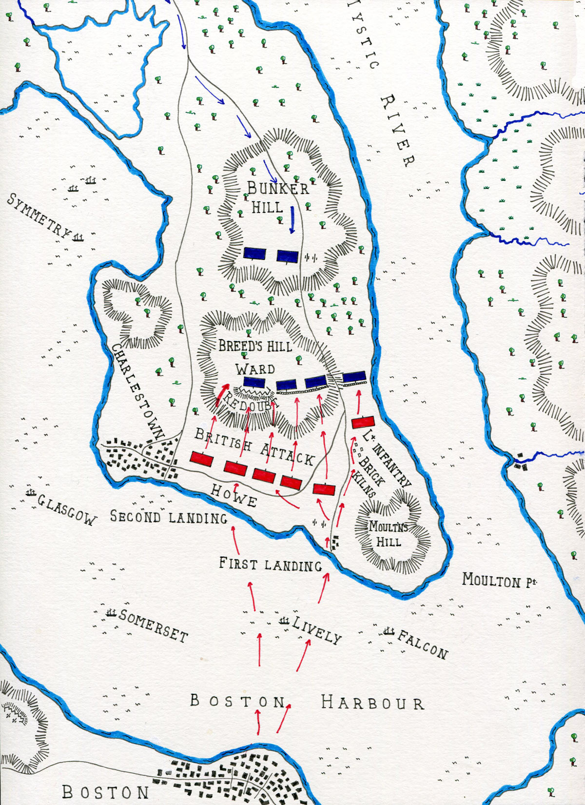 Map Of The Battle Of Bunker Hill On 17th June 1775 In The American Revolutionary War