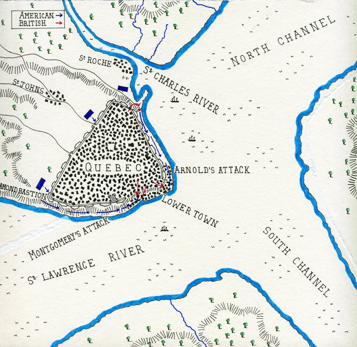 Map of the Battle of Quebec on 31st December 1775 in the American Revolutionary War: map by John Fawkes