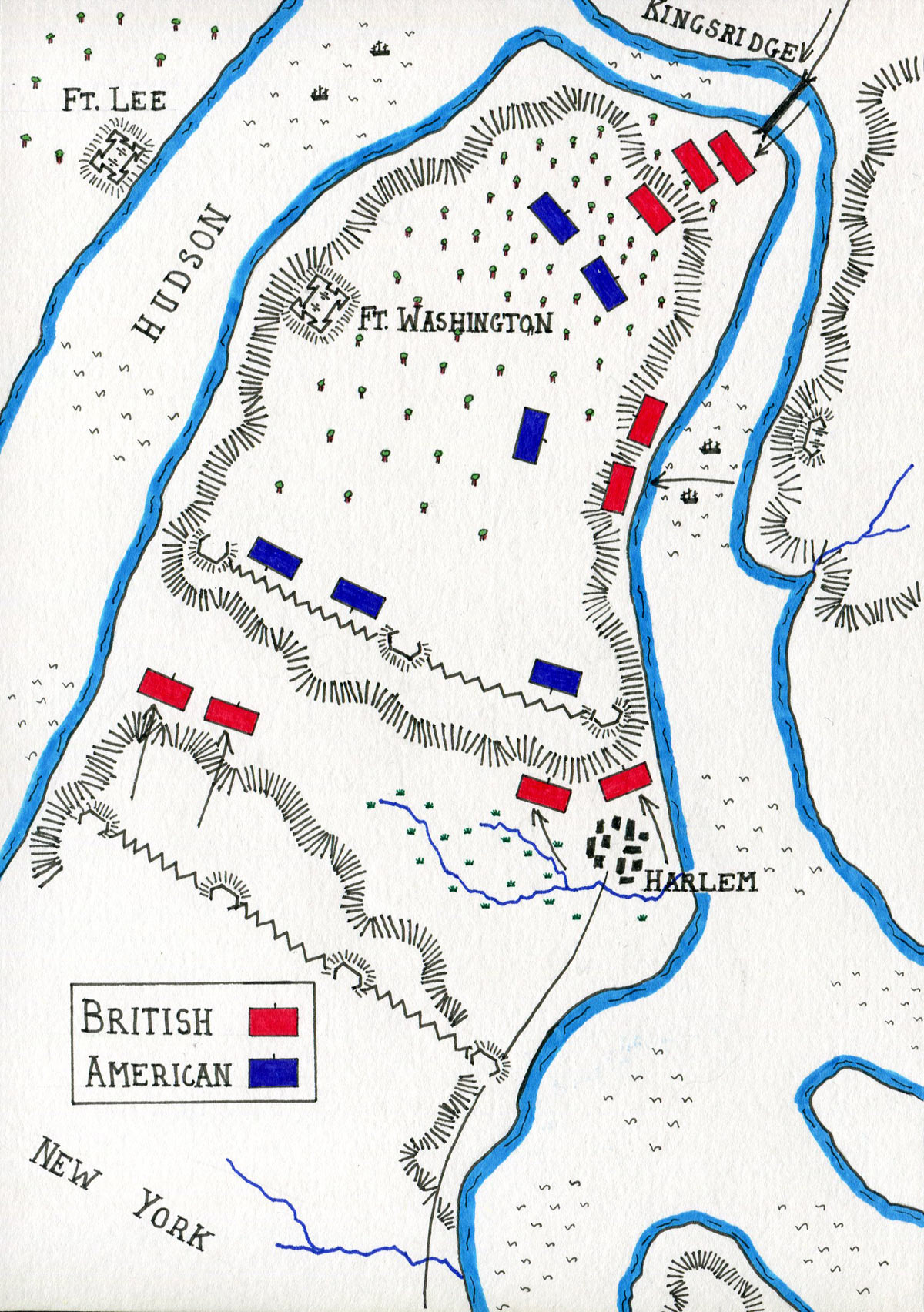 Map of the Battle of Fort Washington on 17th November 1776 in the American Revolutionary War: map by John Fawkes