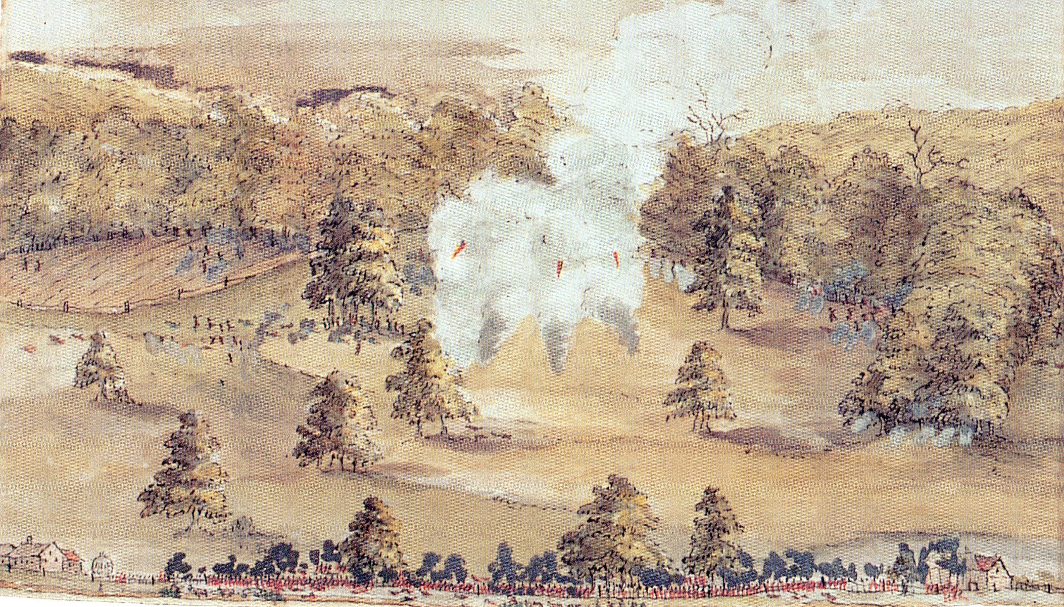 American battery firing on British Foot Guards as the British begin their attack on General Sullivan's Division at the Birmingham Friends Meeting House during the Battle of Brandywine Creek on 11th September 1777 in the American Revolutionary War: picture by Lord Cantelupe who was present at the battle as an officer of the Coldstream Guards