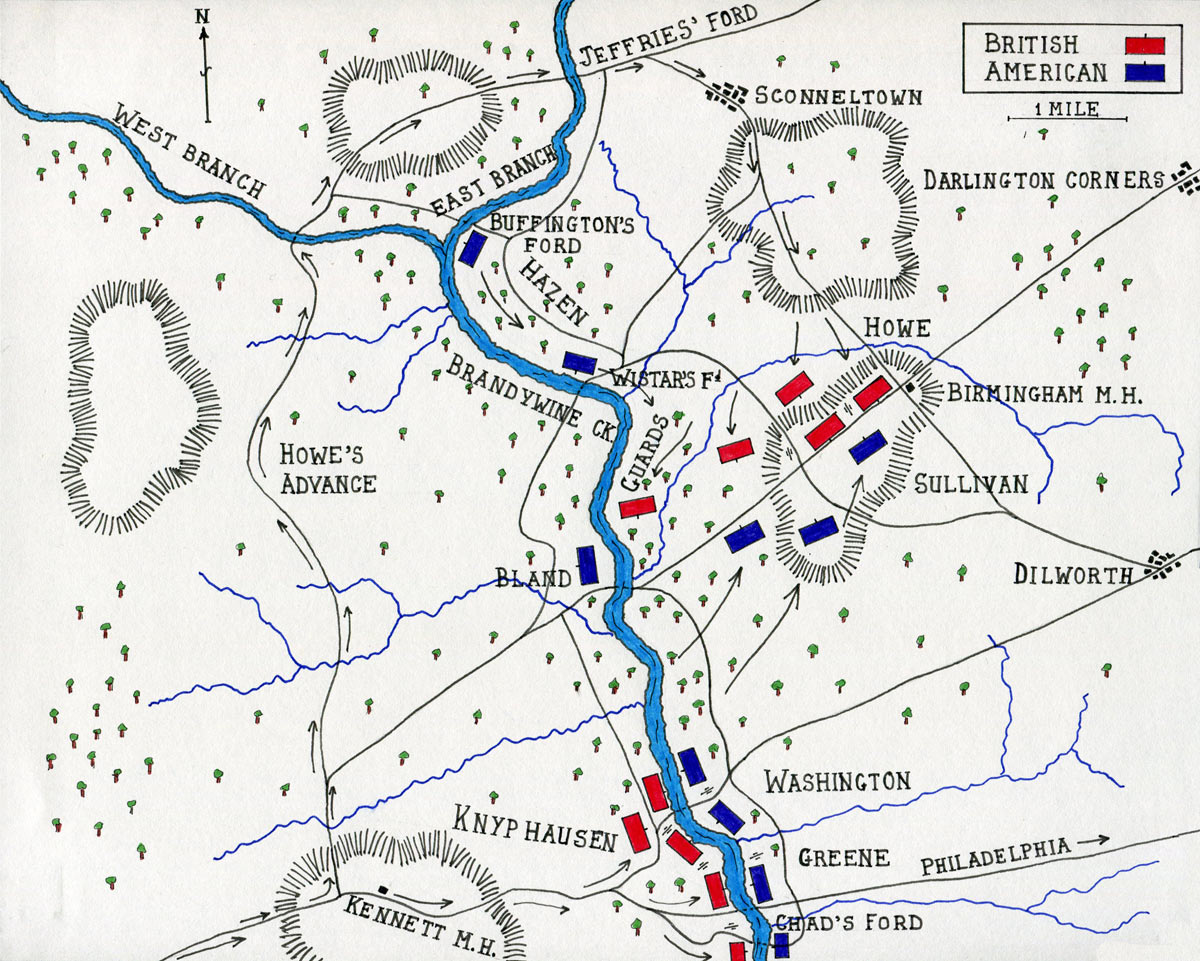 Map of the Battle of Brandywine Creek on 11th September 1777 in the American Revolutionary War: map by John Fawkes