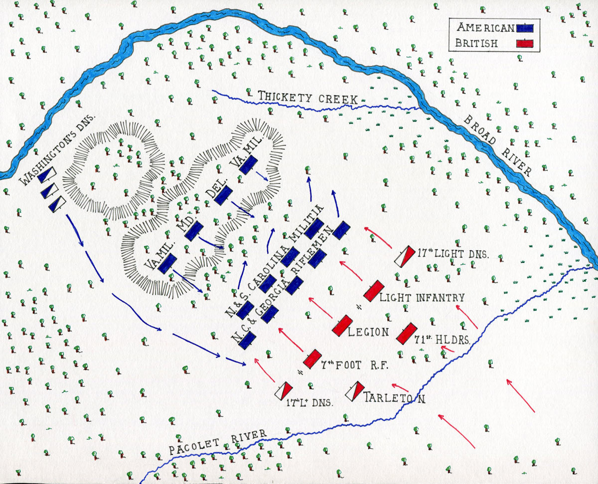 Map of the Battle of Cowpens on 17th January 1781 in the American Revolutionary War : map by John Fawkes