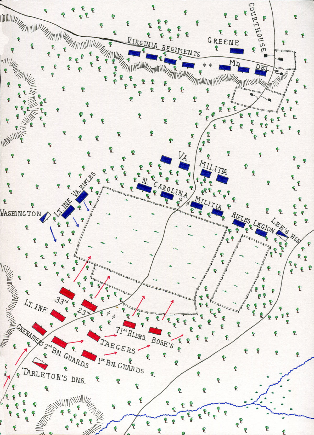 Map of the Battle of Guilford Courthouse on 15th March 1781 in the American Revolutionary War: map by John Fawkes